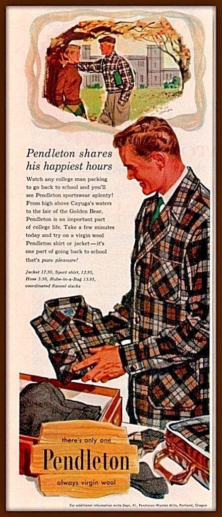 Details about 1957 Pendleton Virgin Wool Plaid College Men's Fashion Retro Vintage Print Ad