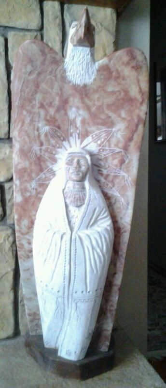 "Alabaster native American 40"" tall eagle chief sculpture Statue James Joe"