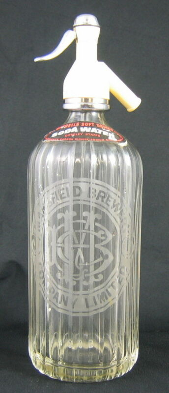VINTAGE CLEAR GLASS SELTZER BOTTLE etched MANSFIELD BREWERY COMPANY LTD. BEER