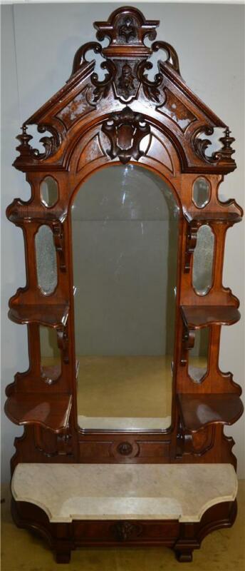 18547 Victorian Burl Walnut Marble Top Etagere