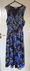 Women's Dress - Black & Blue Floral Print - SIZE L/ XL - Excellent as new condition