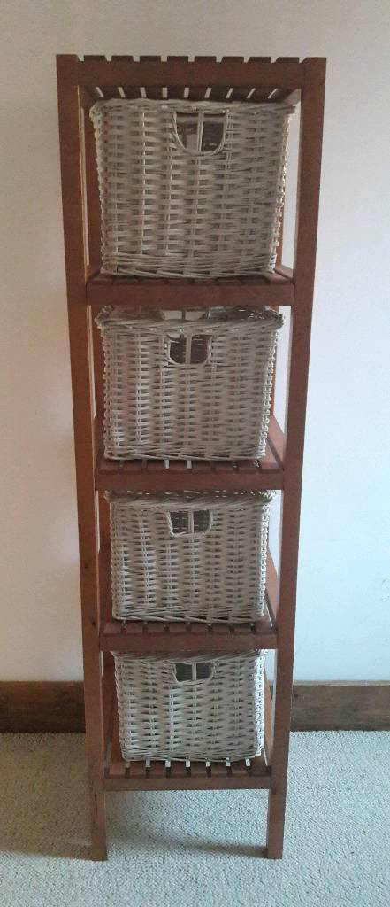 Ikea Molger Shelving Unit With 4 White Wicker Baskets Storage Free Matching Wall Shelf