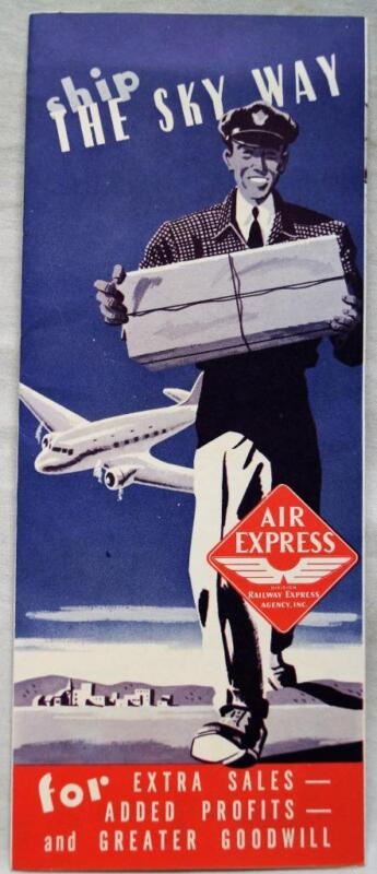 RAILWAY EXPRESS AIR DIVISION PACKAGE SHIPPING ADVERTISING BROCHURE 1940 VINTAGE