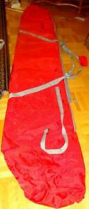 """2 NYLON SKI SNOWBOARD STORAGE BAGS - RED - 84"""" (215 cm) LONG for Storage, Travel, Snow Protection - Gently used"""