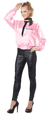 Grease Style The Pink Satin Ladies Halloween Costume