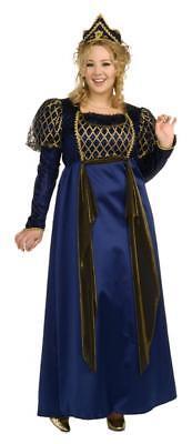 Queen Renaissance Gown Costume Plus Size 16-22 Rubies Blue Gold Crown NEW (Renaissance Gowns Plus Size)