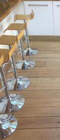 6 x Barstools, wood & chrome £10 each