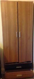 Fantastic wardrobe two bottom draws, hanging rail, inside mirror height 179cm width 70cm depth 50cm