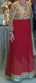 Beautiful Indian maroon antique Anarkali suit worn once for an Indian wedding.