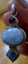Moonstone, Labradorite and Garnet Large Chunky Silver 925 Pendant