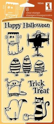 Inkadinkado Clear Stamps GHOULS & GOBLINS Happy Halloween Trick or Treat