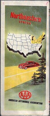 Vintage 1951 Aaa Travel Map   Northeastern States