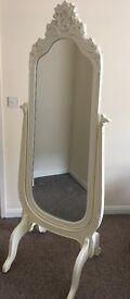 Floor Mirror. White freestanding dressing mirror