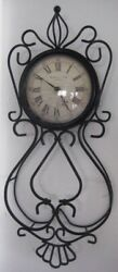 Vintage STERLING & NOBLE WROUGHT IRON WALL CLOCK Works on 2 AA batteries 21X 9