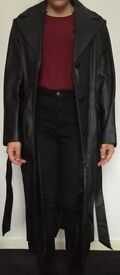 Real 100% leather long black coat