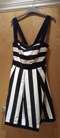 Brand New Ladies Redherring Black & White Striped Dress
