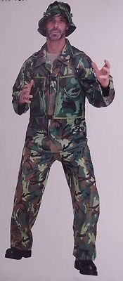 Mens Army Soldier Camo Fighter FATIGUES Military Halloween Purim Costume  XL NEW](Army Costume Mens)