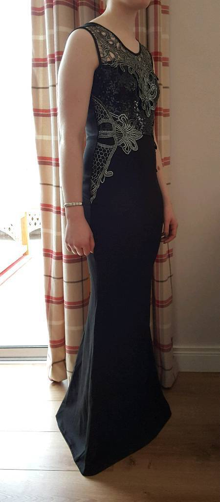 New Black And Silver Formal Dress Evening Gown Size 8 Lipsy Style