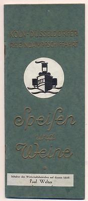 Old VINTAGE 1930 GERMAN RIVER CRUISE MENU Koln Dusseldorfer RHEINDAMPFSCHIFFAHRT