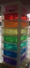 SOLD Really Useful Rainbow Quality Plastic Coloured Storage Tower Unit