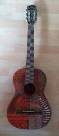 Unique hand decorated guitar
