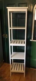 White wooden Hemnes bathroom shelves