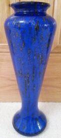 NEW Murano Handmade Glass Vase Italian Blue Gold White Iridescent Marble Effect Ornament Glassware