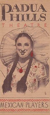 Padua Hills Theatre Mexican Players Claremont California Brochure 1930s