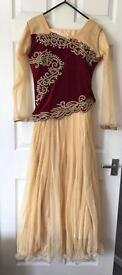 Beautiful Indian/Pakistani Long Maroon and Gold Gown