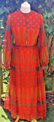 70s Vtg SIMON ELLIS ethnic indian influence red pattern MAXI DRESS - UK 8