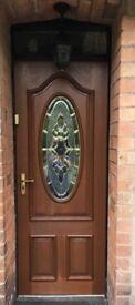 DOOR PRICE REDUCED DUE TO NO-SHOW: Hardwood front door oval glass panel