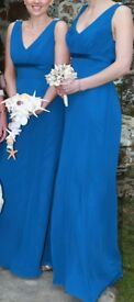Blue floor-length bridesmaids dresses *as new* designed by Romantica of Devon