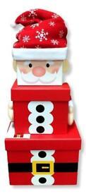 fantastic set of 3 small rigid Christmas boxes Santa