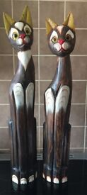 2 wooden cats 33 inch tall both for £15