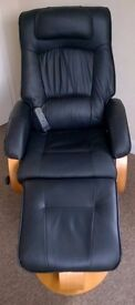 AMALFI SWIVEL RECLINER CHAIR AND FOOTSTOOL WITH HEAT AND MASSAGE IN BLACK