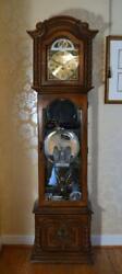 1960s Tempus Fugit Oak Grandfather Clock Curio Cabinet w/Glass Shelves + Light