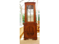 YEW WOOD -REGENCY STYLE – BOW FRONTED CORNER DISPLAY CABINET IN EXCELLENT CONDITION (CAN DELIVER)