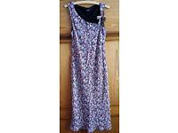 JASPER CONRAN JEANS DRESS, Size 14, Black background, pink & turquoise floral print.