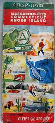 CITIES SERVICE GAS STATION SOUTHERN NEW ENGLAND HIGHWAY ROAD MAP 1957 VINTAGE