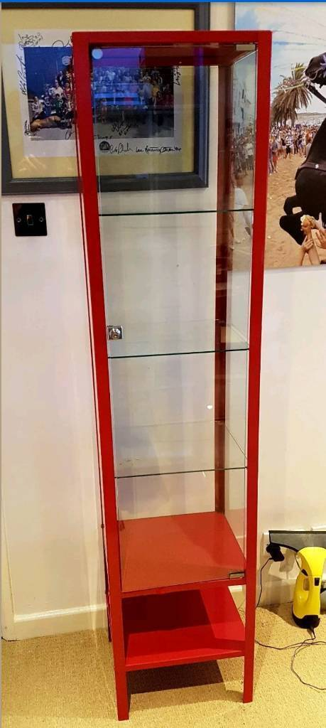 Ikea Red Metal And Glass Display Cabinet