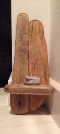 WOODEN DRIFTWOOD HANDCRAFTED CANDLE SCONCE READY TO HANG 30 X 13 CM