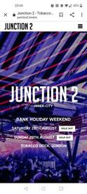 Junction 2 Tobacco Dock. 3 tickets available.