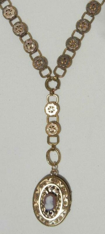 Antique Victorian HARDSTONE CAMEO Locket Pendant & Book Chain Y Necklace