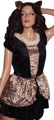 Girls Kitty Kitten Cat Leopard Halloween Costume L 10 12 Purim Dress Ears  NEW