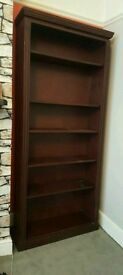 Dark wood tall book case/shelves
