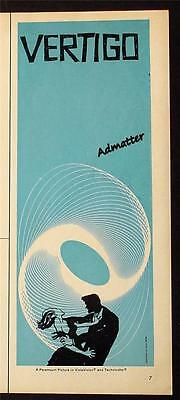 1958 VERTIGO MOVIE POSTER AD ALFRED HITCHCOCK RARE SAUL BASS GRAPHIC DESIGNER