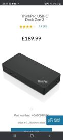 BRAND NEW LENOVO THINKPAD USB-C DOCK GEN 2, FOR LAPTOP, COMES WITH POWER ADAPTER, CAN DELIVER
