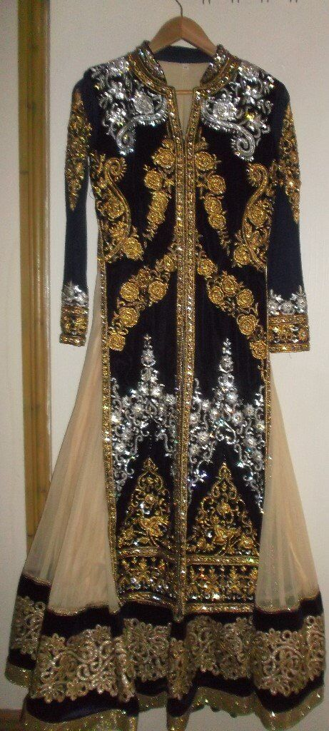 STUNNING FAUX VELVET NAVY & GOLD ANARKALI DRESS PERFECT FOR INDIAN ASIAN WEDDING PARTY