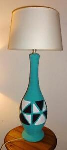 MID-CENTURY TABLE LAMP / Turquoise White Black / MCM Lighting / Ceramic Tall Pottery