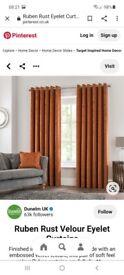 Ruben Rust Velour Eyelet Curtains